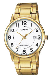 Casio Analog  MTP-V002G-7B Gold Stainless Steel Band Men's Watch