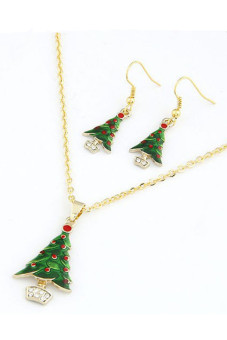 Chain Bib Christmas Gift Necklace Earrings (Green)