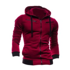Chic Zipper Mens Hoodie Cardigan Fashion Coats New Sexy Slim Fit Sweater Jacket Red Wine Xl - Intl By Sunnny2015.