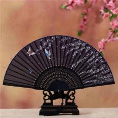 Chinese Japanese Folding Hand Vintange Fan Silk Bamboo Flower Pocket Gift - intl