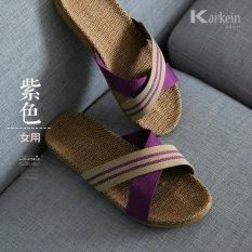 Chitoso Brand Summer home linen men and women indoor anti slip comfort floor slippers KTZ01 -