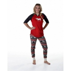 43983cc0a2 Christmas Family Match Pajamas Set Moose Adult Men Women Kids Sleepwear  Nightwear(Women) -