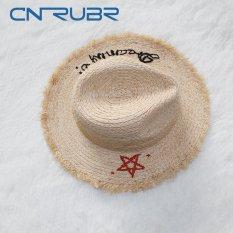 10d83253df5 CN-RUBR Summer Women Sun Hat Ladies Raffia Five-pointed Star Pattern Wide  Brim