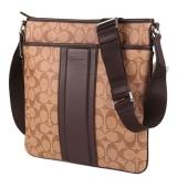 02b66f9395 Coach Men s Heritage Signature Small Zip Top Crossbody Bag - Brown ...