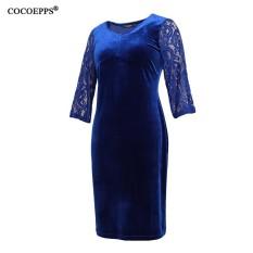 0198d13c3f2c1 COCOEPPS Plus Size Lace Women tunic Dresses 2017 winter Big Sizes velvet Dress  Large Size Sexy