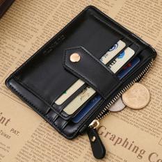 CocolMax Mini Leather Zipper Credit Card ID Holder Money Clip Wallet Black - intl