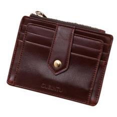 CocolMax Mini Leather Zipper Credit Card ID Holder Money Clip Wallet Coffee - intl