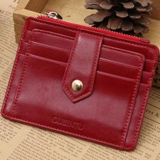 CocolMax Mini Leather Zipper Credit Card ID Holder Money Clip Wallet Red - intl