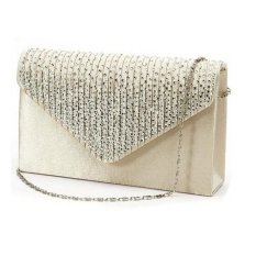 Coconie Las Large Evening Satin Diamante Clutch Bag Party Envelope Beige Intl