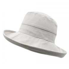 7af5714589ef9d Connectyle Womens Summer Wide Brim Cotton Bucket Sun Hat with Inner  Drawstring Shapable Foldable Hat Grey