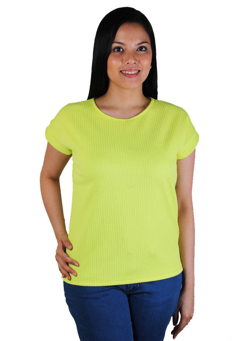 Cotton Republic Emboss Pattern Design Blouse (Yellow)
