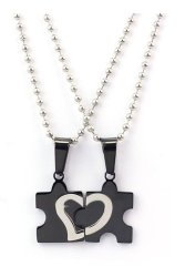 Couple Heart Puzzle Pendant Necklace Set of 2 (Black)