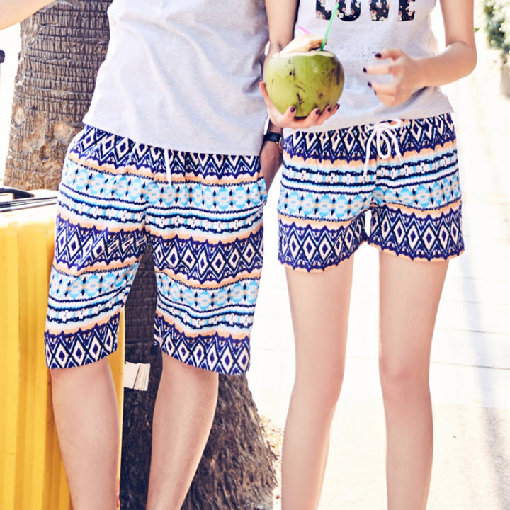 Couple Korean Short sleeved Short sleeve sea T-shirt (Shorts the dress (one-piece)) (Shorts the dress (one-piece))