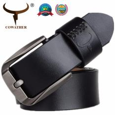 COWATHER Men s Leather Belt 100% Top Cow Genuine Leather Waist Belts for Men  Casual Jeans 7c31f61189