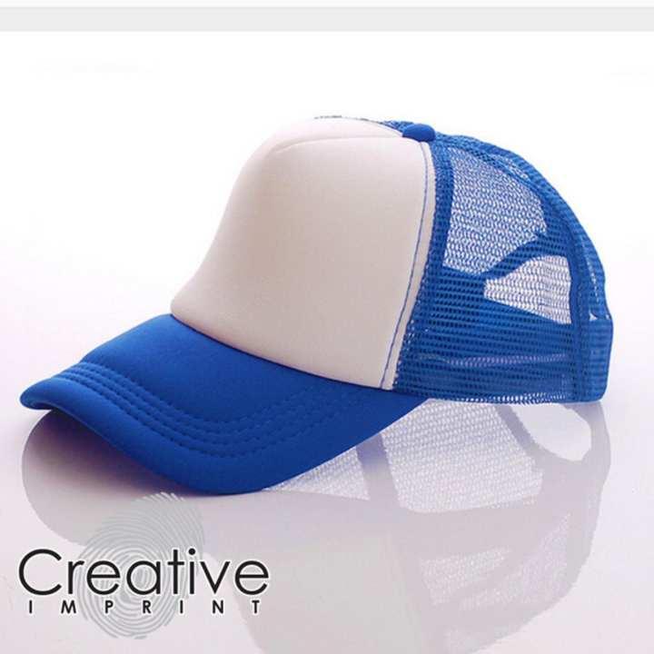 Creative Imprint Plain Trucker Mesh Net Baseball Cap (Royal Blue White) 33c70612d21