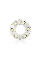 Crystal Rhinestone Charm Beads Set of 5 (Yellow/Silver)