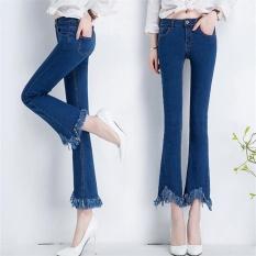 CStore Blue 2017 Korean Skinny Women Jeans Retro Style Bell-Botto Skinnyjeans Female Pure Color