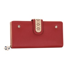 CStore New Korean Women Long Pu Leather Clutch Wallet Floral Ladies Cardholder - intl