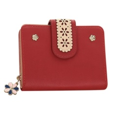 CStore New Korean Women Short Pu Leather Clutch Wallet Lace Floral Cardholder (Red) -