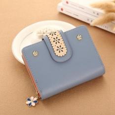 CStore New Korean Women Short Pu Leather Clutch Wallet Lace Floral Cardholder (Grey Blue)
