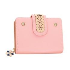 CStore New Korean Women Short Pu Leather Clutch Wallet Lace Floral Cardholder (Pink) -