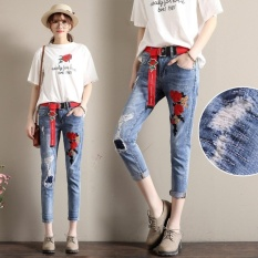 CStore Women Embroidered Jeans Frayed Cropped Jeans Slim Flower Pantsfemale Ripped Nine Jeans Korean Nine Pan