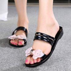 Cute Women's Jelly Cute Bow Summer Sandals Beach Rubber Sole Slipper Flats Shoes D177 Black(