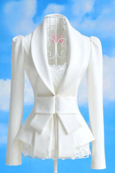 Cyber Big Bowknot Career OL Suit Coats Jacket (White)