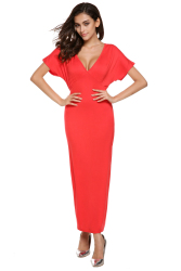 [Sale At Breakdown Price] Cyber Women Casual Sexy V Neck High Waist Maxi Dress (Red)