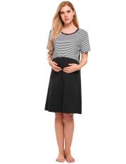 Sale At Breakdown Price  Cyber Women Maternity Nightgown Nursing Dress  Short Sleeve Striped Lounge 88f2b0d2c