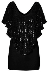 Cyber Women Spangle Sequin Sparkle Glitter Blouse (Black)