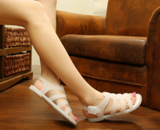 D37 New Lady Rome Jelly Confortable Buckle Breathable Solid Flat Rubber Sandals Beige - Intl