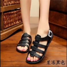 D37 New Lady Rome Jelly Confortable Buckle Breathable Solid Flat Rubber Sandals Black - intl