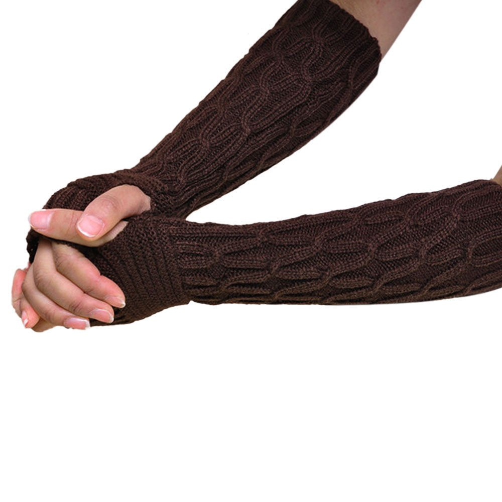 Diamond Twist Fingerless Knitted Long Gloves Coffee product preview, discount at cheapest price