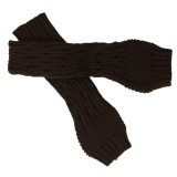 Diamond Twist Fingerless Knitted Long Gloves Coffee - thumbnail 1