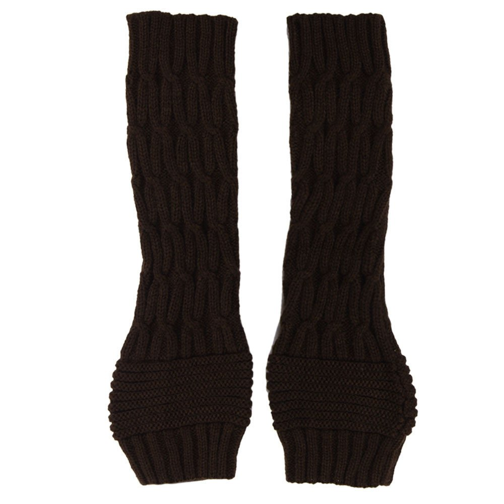 Diamond Twist Fingerless Knitted Long Gloves Coffee - thumbnail