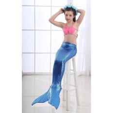PHP 850. DN Girls Summer Mermaid Tail Swimsuit Kids Girls Fancy Swimming Dress Dark Blue Bikini Set Bathing ...