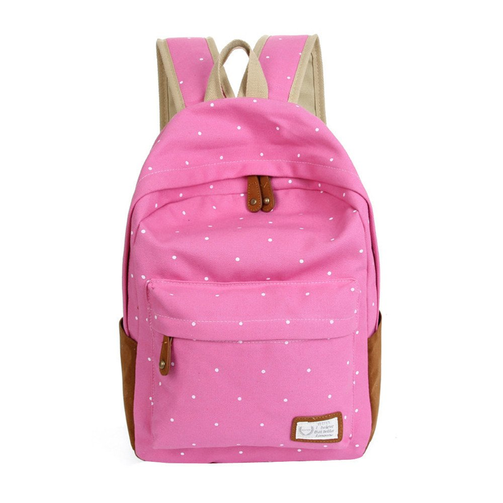 Double-Shoulder Girls Canvas Dots Schoolbag Students Backpacks Pink - thumbnail