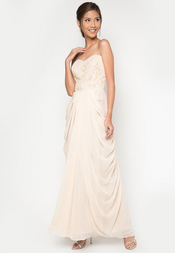 Draped Long Gown (Beige) - thumbnail