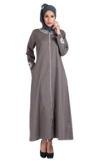 East Essence Grey Cotton Twill Full Zipper Front Open Abaya/ Jilbab Dress-As Pictured