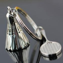 Fancyqube Creative gifts accessories Badminton and racket key chain shuttlecock & badminton racket keychain key ring Silver - intl