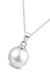 Fancyqube Cute Pearl Alloy Pendant Long Necklace Silver