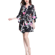 a14be1b2fc Fangfang Women Single robe sleeve silk pajamas bathrobe ladies summer silk  peacock gown Leisure wear black