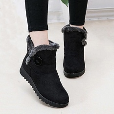 Fashion Buckle Comfortable Keep Warm Soft Winter Ankle Snow Boots For Women  , intl