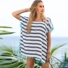 Fashion Lady Women's O-Neck Batwing Sleeve Tassel Stripe Chiffon Beach Dress Bikini Swimwear Cover