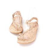 9e4f508bb90f Fashion Summer Womens Bohemia Floral Sandals Flat Shoes Strappy ...