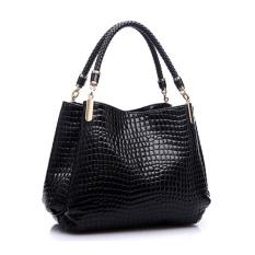 Fashion Women Crocodile Pattern Leather Shoulder Bag Female Tote Handbag, Black - intl