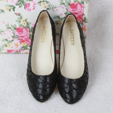 Fashion Womenu0027s Loafers Casual Shoes Crackle Ballet Flats Slip On Oxfords  Shoes BLACK   Intl