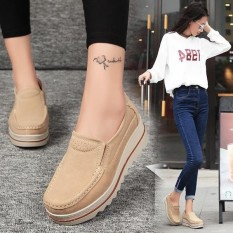 7160672a99e9 Fashion Womens Breathable Suede Round Toe Slip On Platform Wedges Shoes -  intl
