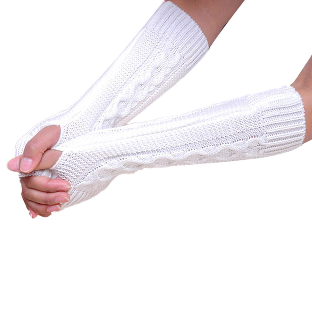 Fingerless Knitted Long Gloves White - thumbnail
